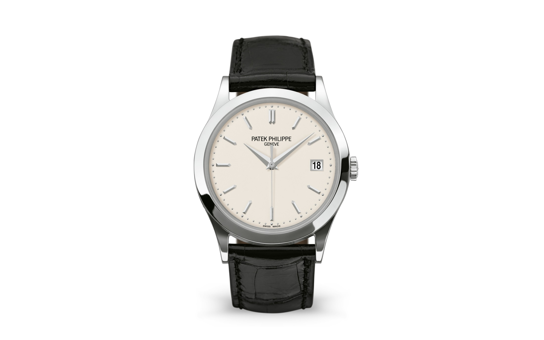 The black leather strap fitted on the silvery dial makes the watch more suitable for formal occasions.