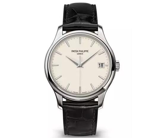 The Patek Philippe Calatrava with ivory lacquer dial sports a distinctive look of vintage style.