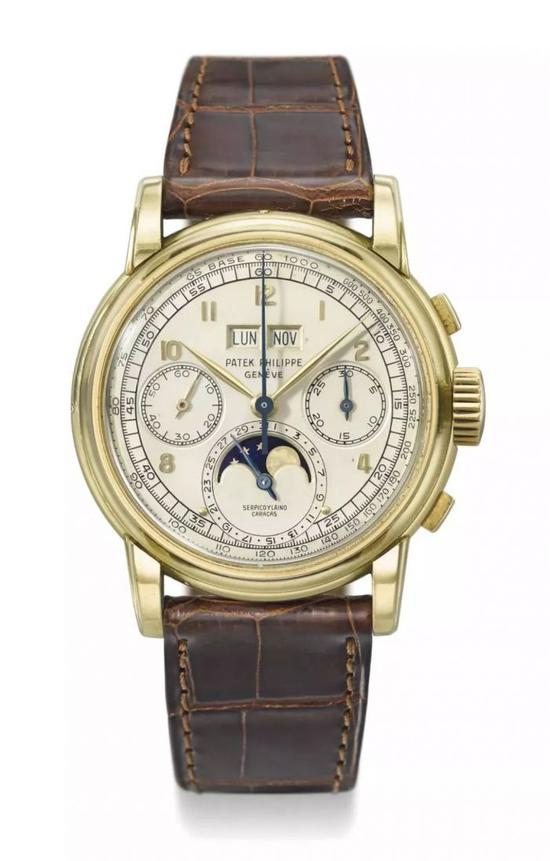 The Patek Philippe has retained multiple complex functions including the perpetual calendar and moon phase.