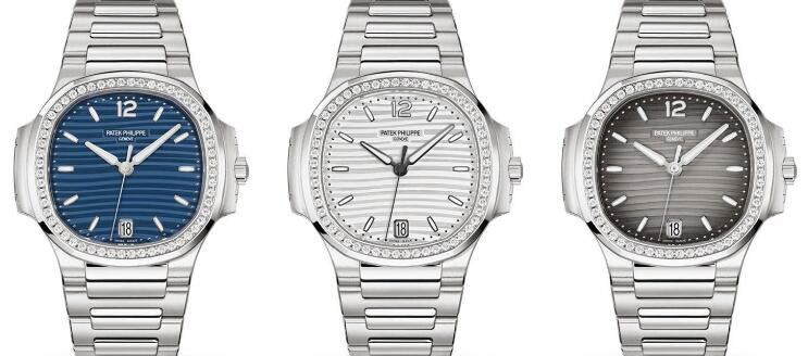 The diamonds paved on the bezels add the feminine touch to the timepieces.